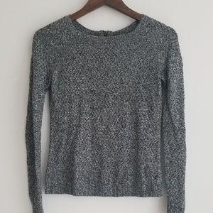 American Eagle Gray Knit Sweater w/ Zip, XS